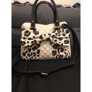 Betsey Johnson white leopard bow purse